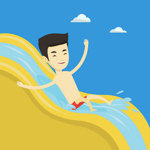 Young asian man riding down a waterslide at the aquapark. Cheerful man having fun on a water slide in waterpark. Man going down a water slide. Vector flat design illustration. Square layout.