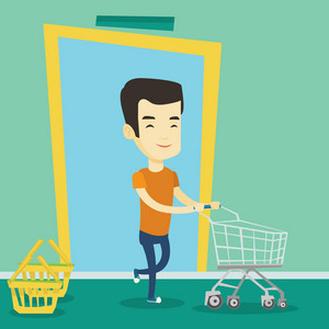 Young asian man running into the shop with trolley. Man rushing to shopping. Cheerful man with an empty shopping trolley pushing supermarket trolley. Vector flat design illustration. Square layout.