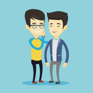 Young asian man shielding his mouth and whispering a gossip to his friend. Two happy men sharing gossips. Smiling friends discussing gossips. Vector flat design illustration. Square layout.