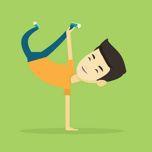 Young asian man showing his skills in break dance. Happy breakdance dancer doing handstand. Young smiling man dancing. Strong man breakdancing. Vector flat design illustration. Square layout.