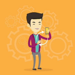 Young asian man showing his smartphone and smart watch on the background with cogwheels. Concept of synchronization between smart watch and smartphone. Vector flat design illustration. Square layout.