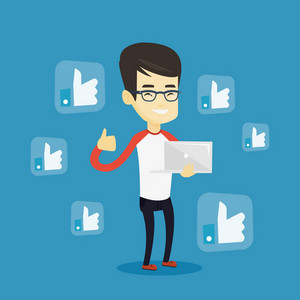 Young asian man showing thumb up and like social network buttons around him. Happy man with laptop and like social network buttons with thumb up. Vector flat design illustration. Square layout.