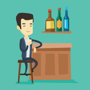 Young asian man sitting at the bar counter. Man sitting with glass in bar. Cheerful man sitting alone and celebrating with an alcohol drink in bar. Vector flat design illustration. Square layout.