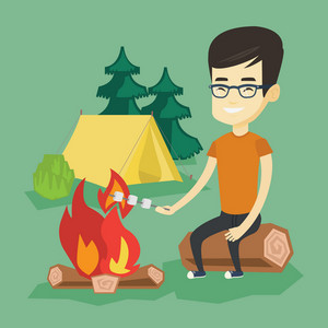 Young asian man sitting on a log near campfire with marshmallow. Traveler man roasting marshmallow over campfire. Happy tourist relaxing near campfire. Vector flat design illustration. Square layout.