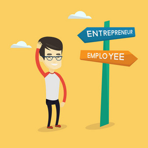 Young asian man standing at road sign with two career pathways - entrepreneur and employee. Man choosing career way. Man making a decision of his career. Vector flat design illustration. Square layout