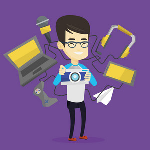 Young asian man taking photo with digital camera. Man surrounded with gadgets. Man using many electronic gadgets. Guy addicted to modern gadgets. Vector flat design illustration. Square layout.
