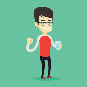 Young asian man taking pills. Healthy man holding pills and glass of water in hands. Happy smiling man taking pills. Healthy lifestyle concept. Vector flat design illustration. Square layout.