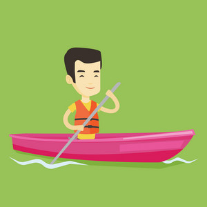 Young asian man traveling by kayak. Sportsman riding in a kayak in the river. Male kayaker paddling. Sportsman paddling a canoe. Vector flat design illustration. Square layout.