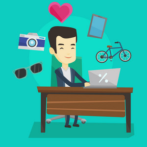 Young asian man using laptop for online shopping. Happy man doing online shopping. Man buying in online shop. Guy buying on internet. Vector flat design illustration. Square layout.