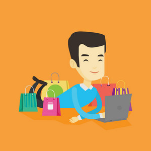 Young asian man using laptop for online shopping. Smiling man lying with laptop and making online shopping order. Man doing online shopping at home. Vector flat design illustration. Square layout.