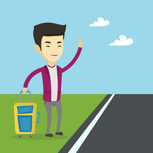 Young asian man with suitcase hitchhiking on roadside. Hitchhiking business man trying to stop a car on a highway. Man catching taxi car by waving hand. Vector flat design illustration. Square layout.