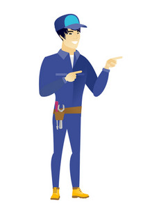 Young asian mechanic pointing to the side. Mechanic pointing his finger to the side. Mechanic pointing to the right side. Vector flat design illustration isolated on white background.