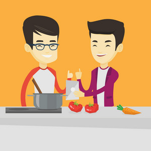 Young asian men following recipe for healthy vegetable meal on digital tablet. Friends cooking healthy meal. Friends having fun cooking together. Vector flat design illustration. Square layout.
