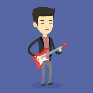 Young asian musician playing electric guitar. Man practicing in playing guitar. Guitarist with his eyes closed playing music on guitar. Vector flat design illustration. Square layout.