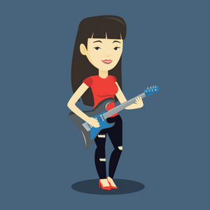 Young asian musician playing electric guitar. Woman practicing in playing guitar. Female guitarist playing music on guitar. Vector flat design illustration. Square layout.