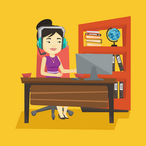 Young asian office worker in headset using computer. Cheerful office worker in headset working on a computer. Office worker wearing headset. Vector flat design illustration. Square layout.