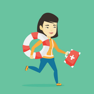 Young asian paramedic running to patients. Smiling paramedic running with first aid box. Emergency doctor running with first aid box and lifebuoy. Vector flat design illustration. Square layout.