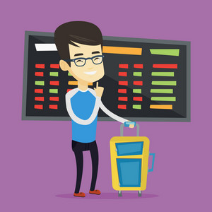Young asian passenger waiting for a flight at the airport. Passenger with suitcase standing at the airport on the background of departure board. Vector flat design illustration. Square layout.