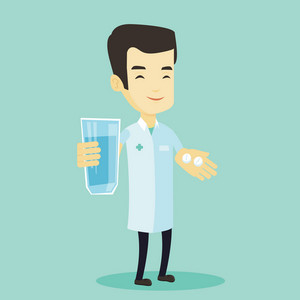 Young asian pharmacist holding a glass of water and pills in hands. Smiling pharmacist in medical gown. Cheerful pharmacist giving medication. Vector flat design illustration. Square layout.