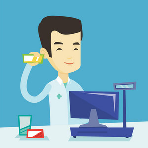 Young asian pharmacist in medical gown standing at the counter in the pharmacy. Pharmacist showing some medicine. Pharmacist holding a box of pills. Vector flat design illustration. Square layout.