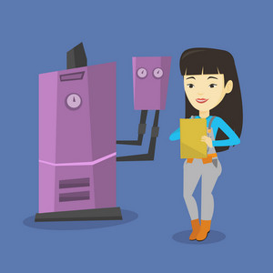 Young asian plumber making some notes in her clipboard. Plumber inspecting heating system in boiler room. Friendly female plumber in overalls at work. Vector flat design illustration. Square layout.