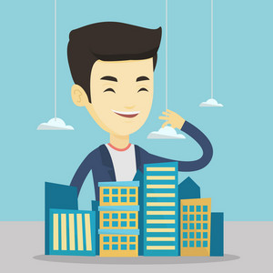 Young asian real estate agent presenting a model of new district of the city. Sales manager working with a project of a new modern district of the city. Vector flat design illustration. Square layout.