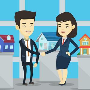Young asian realtor shaking hand to cheerful customer after real estate deal in office. Conclusion of real estate deal between realtor and buyer. Vector flat design illustration. Square layout.