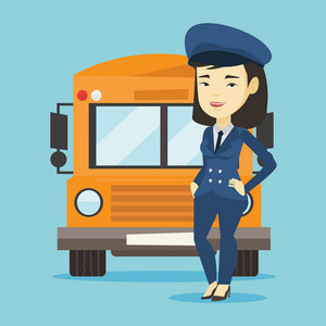 Young asian school bus driver standing in front of yellow bus. Smiling female school bus driver in uniform. Cheerful female school bus driver. Vector flat design illustration. Square layout.