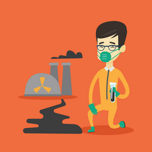 Young asian scientist in gas mask and radiation protective suit holding a test-tube with black liquid on the background of nuclear power plant. Vector flat design illustration. Square layout.