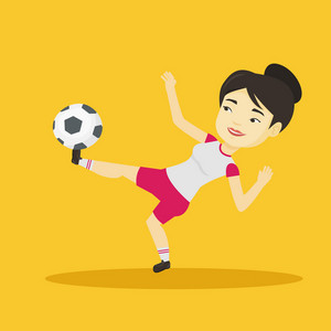 Young asian soccer player kicking ball during game. Happy female soccer player juggling with a ball. Football player playing with soccer ball. Vector flat design illustration. Square layout.