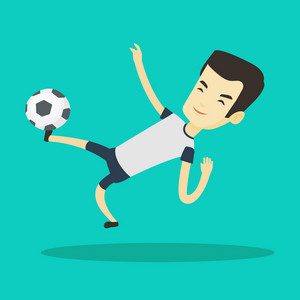Young asian soccer player kicking ball during game. Happy male soccer player juggling with a ball. Football player playing with soccer ball. Vector flat design illustration. Square layout.