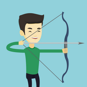 Young asian sportsman practicing in archery. Cheerful Cheerful sportsman training with the bow. Archery player aiming with a bow in hands. Vector flat design illustration. Square layout.