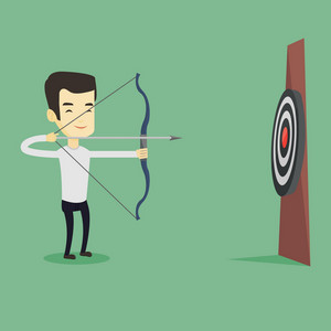 Young asian sportsman shooting with bows during archery competition. Bowman aiming with bow and arrow at the target. Archer practicing with bow. Vector flat design illustration. Square layout.
