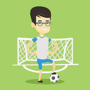Young asian sportsman standing with football ball on the football stadium. Happy professional football player standing with a soccer ball on the field. Vector flat design illustration. Square layout.