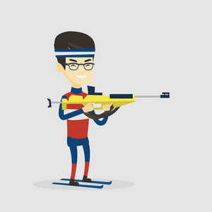Young asian sportsman taking part in ski biathlon competition. Cheerful biathlon runner aiming at the target. Male biathlon shooter with a weapon. Vector flat design illustration. Square layout.