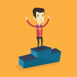 Young asian sportsman with gold medal and hands raised standing on the winners podium. Sportsman celebrating on the winners podium. Winner concept. Vector flat design illustration. Square layout.