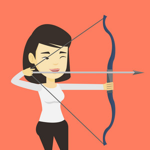 Young asian sportswoman practicing in archery. Cheerful sportswoman training with the bow. Archery player aiming with a bow in hands. Vector flat design illustration. Square layout.