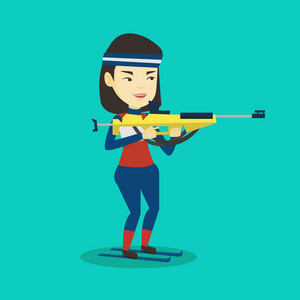 Young asian sportswoman taking part in ski biathlon competition. Cheerful biathlon runner aiming at the target. Female biathlon shooter with a weapon. Vector flat design illustration. Square layout.