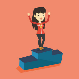 Young asian sportswoman with gold medal and hands raised standing on the winners podium. Sportswoman celebrating on the winners podium. Winner concept. Vector flat design illustration. Square layout.