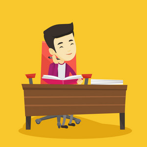 Young asian student sitting at the table and thinking. Thinking student writing in exercise book. Thinking smiling student doing homework. Vector flat design illustration. Square layout.