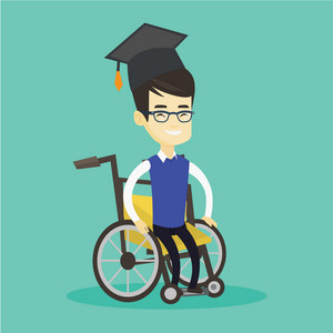 Young asian student sitting in wheelchair. Cheerful graduate sitting in wheelchair. Happy disabled graduate in graduation cap sitting in wheelchair. Vector flat design illustration. Square layout.