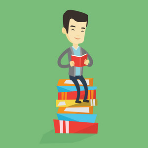 Young asian student sitting on huge pile of books. Happy student in suit reading a book. Smiling man sitting on stack of books with book in hands. Vector flat design illustration. Square layout.