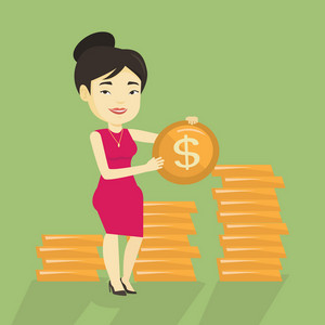 Young asian successful business woman standing with dollar golden coin in hands. Successful business woman holding golden coin. Business success concept. Vector flat design illustration. Square layout