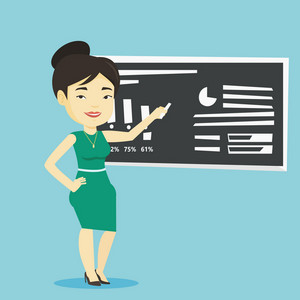 Young asian teacher standing in classroom. Teacher standing in front of the blackboard with a piece of chalk in hand. Teacher writing on a chalkboard. Vector flat design illustration. Square layout.