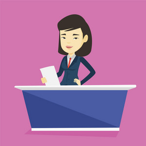 Young asian television anchorwoman at studio during live broadcasting. Television anchorwoman working at studio. Tv anchorwoman reporting the news. Vector flat design illustration. Square layout.