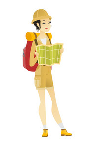 Young asian traveler exploring the map. Woman traveler with backpack looking at map. Woman traveler searching right direction on a map. Vector flat design illustration isolated on white background.