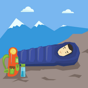 Young asian traveler man wrapped up in a mummy sleeping bag. Happy smiling traveler man relaxing in a sleeping bag while camping in the mountains. Vector flat design illustration. Square layout.