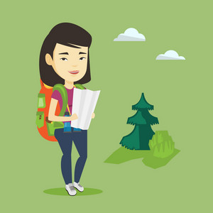Young asian traveler with binoculars exploring the map. Female traveler with backpack looking at map. Traveler searching right direction on a map. Vector flat design illustration. Square layout.