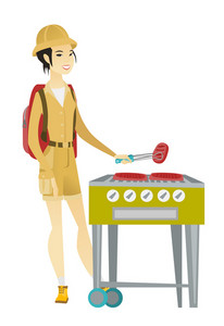 Young asian traveler woman cooking steak on barbecue grill. Full body portrait of happy traveler woman with backpack having barbecue party. Vector flat design illustration isolated on white background