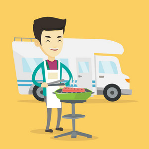 Young asian traveling man cooking steak on barbecue grill on the background of camper van. Happy man travelling by camper van and having barbecue party. Vector flat design illustration. Square layout.